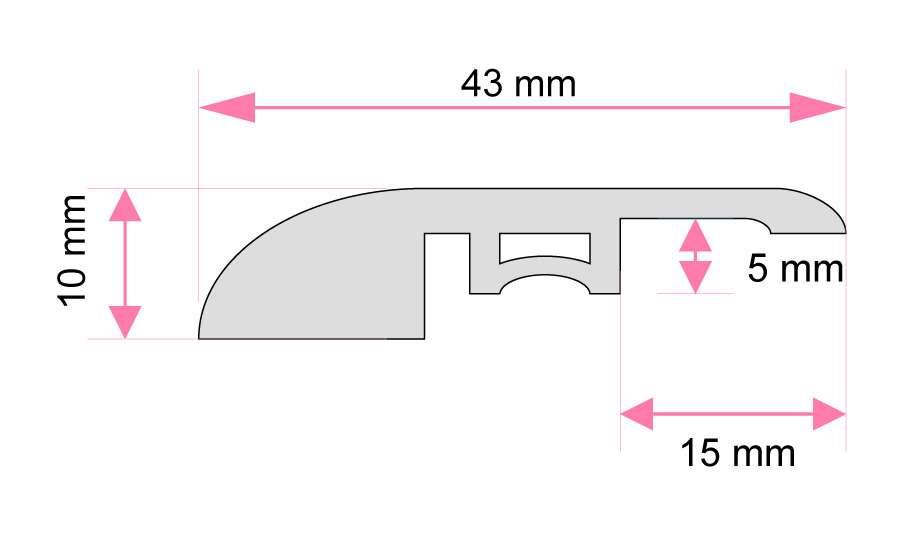 Small Drop Vinyl Reducer Moulding